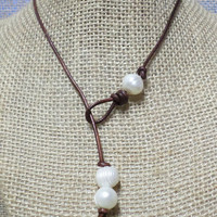Triple Leather Pearl Choker Lariat Necklace, Freshwater Pearl Leather Lariat Necklace, 3 Pearl Lariat Necklace YOU CHOOSE Color Cord