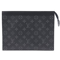 LV trend men's handbag canvas clutch bag wash bag Black Monogram