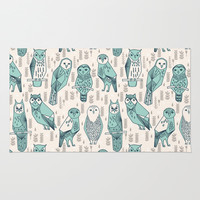 Parliament of Owls - Pale Turquoise by Andrea Lauren Area & Throw Rug by Andrea Lauren Design