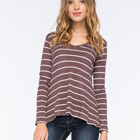 Living Doll Waffle Knit Womens Swing Tee Plum  In Sizes