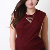 Ribbed Knit Dropped Arm Hole Round Neck Top