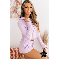 Dressed To Chill French Terry Two Piece Set (Lavender)