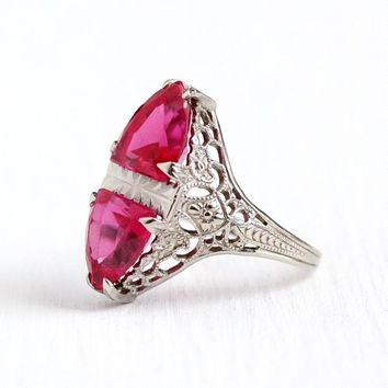 Vintage Filigree Ring - 14k White Gold Art Deco Created Ruby - 1930s Size 5 1/4 Fancy Cut Double Pink Stone OB Ostby Barton Fine Jewelry