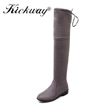 Kickway Women Stretch Suede Over the Knee Boots med heels Thigh High Boots Sexy Fashion Plus Size Shoes Woman Black Gray Vintage