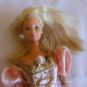 Vintage Barbie Doll, 1966 Body, 1981 Head, Blonde Barbie Pink Princess Dress, Gift for Child, Doll Collectible, Vintage Collectable, Toy