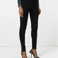 Saint Laurent Suede Motorcycle Leggings - Farfetch