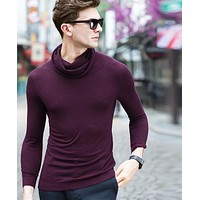 Fashion Turtleneck Sweater Wool Men Knitted Sweater High Elastic Men's Sweaters and Pullover for Youth