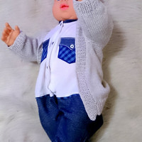 Frontless baby sweater coming home outfit baby vertebrae knitted baby sweater newborn outfit one piece toddler premie outfit eco baby
