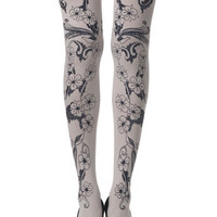 Zohara Cream Opaque Tights Blossom Print