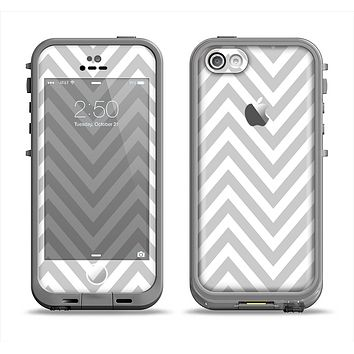 The Gray & White Sharp Chevron Pattern Apple iPhone 5c LifeProof Fre Case Skin Set