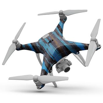 Abstract Wet Paint Dark Blues - Full-Body Skin Kit for the DJI Phantom 4 Drone