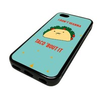 For Apple iPhone 5C 5 C Case Cover Skin Cute Taco Blue Funny DESIGN BLACK RUBBER SILICONE Teen Gift Vintage Hipster Fashion Design Art Print Cell Phone Accessories