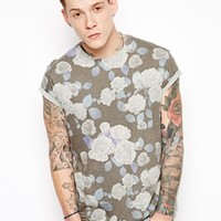 ASOS T-Shirt With All Over Floral Print And Roll Sleeve