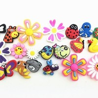20 Pcs  Ladybug Flying Fish  Flowers Charms  Shoe accessories Shoe Charms Shoe Decorations  for Croc Bracelet Wristband  Gift