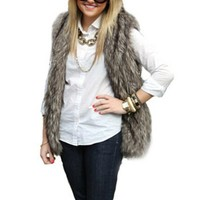 WIIPU women Faux Fur Short Vest Jacket Waistcoat Coat (FL09)- Medium gray