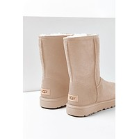 Bunchsun UGG Autumn And Winter Fashion New Women Men Fashion Wool Snow Boots Shoes  Apricot