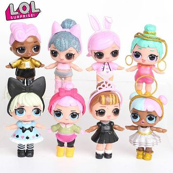L.O.L SURPRISE! 8pcs/set Lol Surprise Doll Ornaments Toy Confetti Glitter Series Action Figures Anime for Kids toys for girls