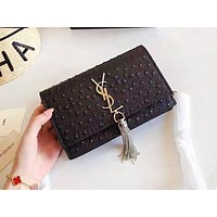 YSL sells fashionable lady's casual tassel shopping single shoulder bag Black