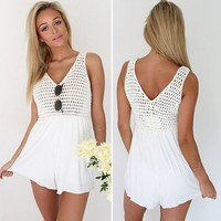 Vakind Sexy Women Crochet Mesh Patch Work V-Neck Jumpsuit Playsuit Rompers