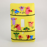 Light Switch Cover Cheerful Birds on a Wire Whimsy