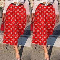 Louis Vuitton LV Newest Fashion Women Print Red Skirt