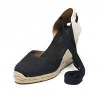 Tall Wedge Sandal - Linen Black Espadrilles for Women from Soludos - Soludos Espadrilles