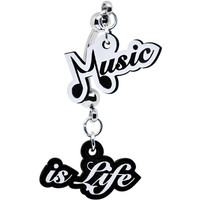Black and White Acrylic Music Is Life Double Mount Belly Ring   Body Candy Body Jewelry