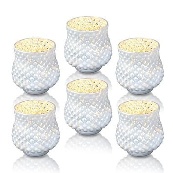 6 Pack | Vintage Mercury Glass Vase and Candle Holders (3-Inch, Small Ruby, Pearl White)  - For Use with Tea Lights - For Home Decor, Parties and Wedding Decorations