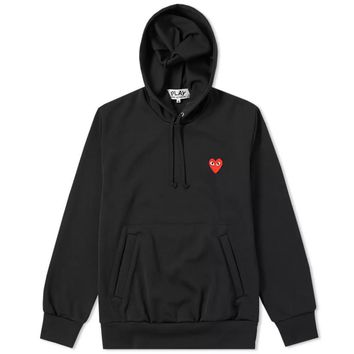 Red Heart Black Hoodie by Comme des Garçons