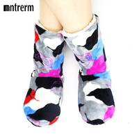 Womens Winter Home Slipper Indoor Soft Slippers Warm Cotton Printing House Plush Shoes