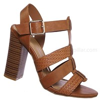 Faith60 Chunky Stack Heel Gladiator Braided Sandals - Strappy Cage Block Heel