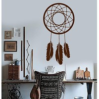 Vinyl Wall Decal Dream Catcher Feathers Bedroom Decoration Stickers Mural Unique Gift (ig3106)