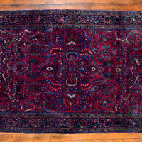 """Persian Rug, c1920, Sarouk, 6'x4'3"""", burgundy red, blue, olive, flower motif, leaves motif,professionally cleaned, a vintage beauty"""