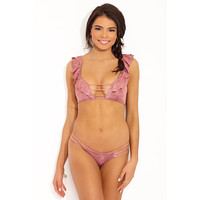 Juliet Ruffle Lace Up Back Bikini Top - Dusty Rose Pink Tie Dye Print