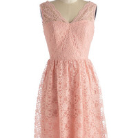 Sleeveless Fit & Flare Layer on the Love Dress in Blush