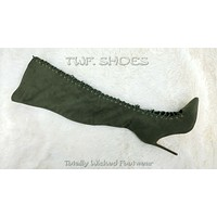 """So Me Amara Lace Up 4"""" Stiletto High Heel Thigh Boots Olive Army Green Lace Up"""