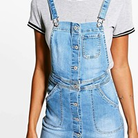 Sophie Denim Dungaree Dress | Boohoo