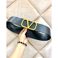 Valentino 2019 new female V letter metal head smooth buckle belt Black