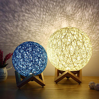 Night Light Creative Table Lamp Bedroom Bedside Table Girl Sepak Takraw Decoration Table Lamp Starry Sky Hemp Table Lamp