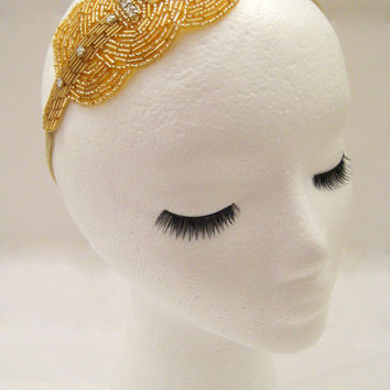 The Viola - gold art deco headband, gold Gatsby headband, gold 1920s headpiece, 1920s flapper hair accessories, gold beaded hairband