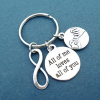 All of me loves all of you, Promise, Infinity, Lover, Relationshion, Keychain, Keyring, Key, Chain, Cute, Simple, Gift, Jewelry, Accessories
