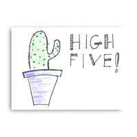 High Five Cactus Greeting Card - Hand Drawn Card - Digital Download