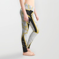Mixed Marble Triangles // Gold Flecked Black & White Marble Leggings by Samantha Ranlet | Society6