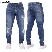 Laamei Hombre Cotton Hip Hop Slim Male Blue Streetwear Hole Skinny Jeans For Men Fashion Pencil Pants Stretch Ripped Jeans
