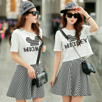 Black and White Graphic Print Top and Striped Skater Skirt