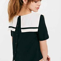 White Pepper Cropped Sailor Top- Black