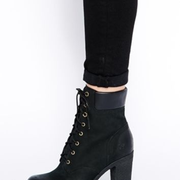 """Timberland Glancy 6"""" Black Heeled Ankle Boots"""
