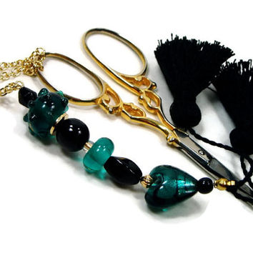 Scissor Fob, Cross Stitch, Needlepoint ,Sewing, Quilting, Teal Heart, Black, Beaded, DIY Crafts