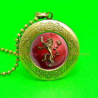 game of thrones house iannister lion pendant locket necklace, a song of ice and fire pendant locket necklace,game of thrones jewelry