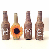 Twine wrapped bottles, wedding decor, home decor, wrapped glass, sunflower decor, painted glass